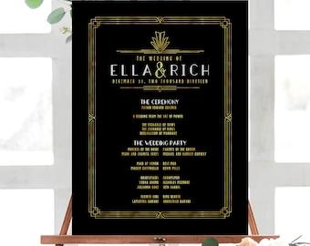 Art Deco Wedding, Wedding Program Poster, Ceremony Poster, Program Poster, Printed Wedding Poster, Art Deco Stationery, Ella Fitzgerald