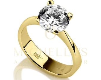Diamond Ring Women Round Cut Engagement Ring 0.70 Carat F VS1 Certified Diamond 14K Yellow Gold Ring