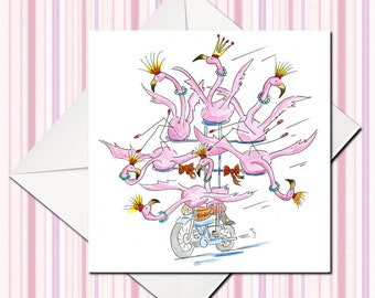 Flamingo Card, Birthday Card, Greeting Card, Silly Flamingo Card