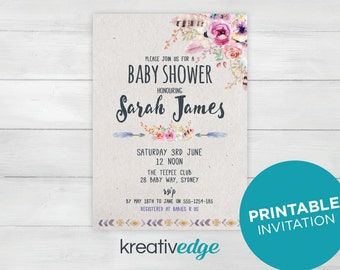BOHO BABY SHOWER Rustic Invitation - Baby Shower Invitation - Printable Invitation - Digital File Only pdf, jpg - Ready to Print