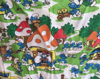 Vintage Smurfs full size flat Sheet, The Smurfs , Smurf Full sheet