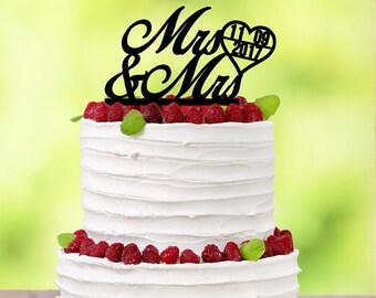 Mrs & Mrs - Lesbian Wedding - Lesbian Cake Topper - Lesbian Wedding Cake Topper - Lesbian Couple - Mrs and Mrs Cake Topper - Cake Topper