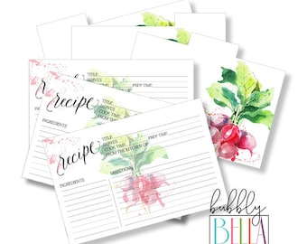 Bridal Shower Gift Recipe Cards - Printable Recipe Card - Rustic Farmhouse Decor Kitchen Recipe Card Set - 4x6 Recipe Card for Bridal Shower