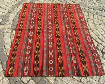 Vintage   Old   Uzbek   Table  Cover   Kilim   Rug   50,3''  X   64,1''  inches