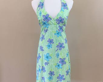1990s Vintage Lilly Pulitzer Cotton Floral Halter Dress