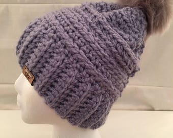 Crochet Beanie in violet.