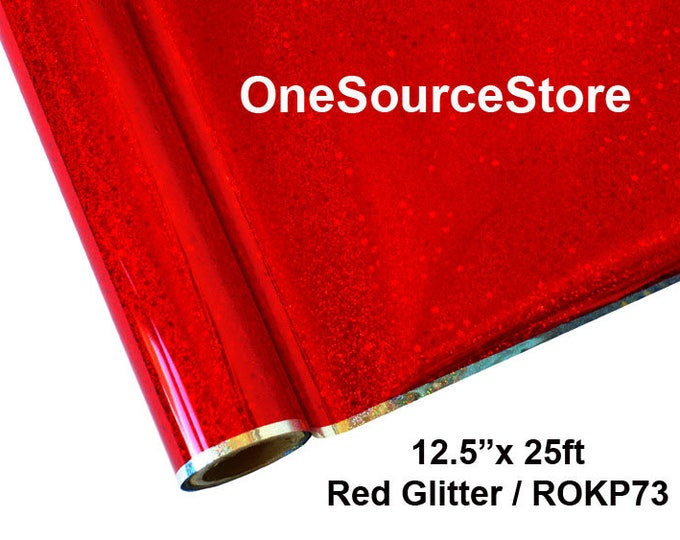 """HTV Textile Foil* / 12.5 """"x 25 ft / Red Glitter / ROKP73"""