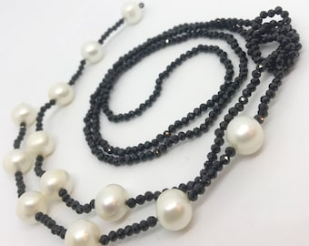 Black spinel and white freshwater pearls long lariat necklace