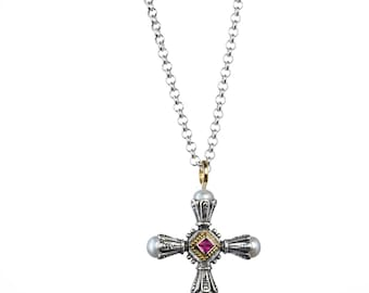 Santorini cross in 18K Gold, sterling silver, pink tourmaline and freshwater pearls
