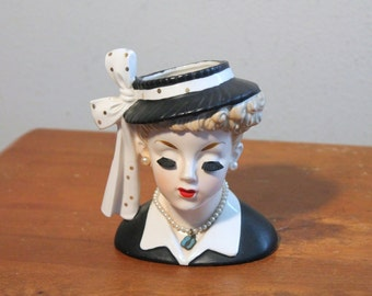 MCM 50s Lucille LUCY BALL Napco c2633c Lady Head Vase - Mid Century Modern - Pottery Ceramic - 1956 - Kitschy