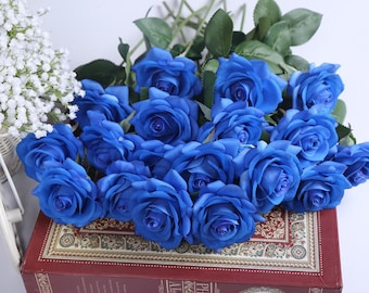 Real Touch Roses Royal Blue Latex Silk Flower 10 Stems For Silk Bridal Bouquet Wedding Table Centerpieces Ceremony Cake Toppers ZHH-GSG-A