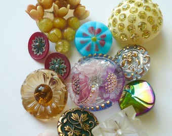 Vintage Button Lot Rhinestones Glass Floral Round Buttons Collectible Czech Buttons Free Shipping by VintageStudioSupply