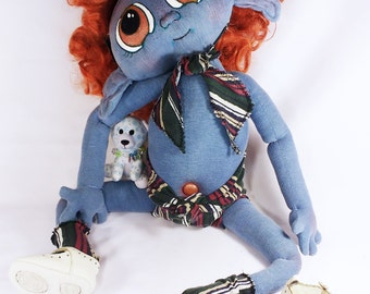 """Fantasy Alien Spirit Baby Cloth Doll 21"""" + outfit, toy doll, hand-made w/ upcycled fabrics UNIQUE """"Starseed Kids"""" series by Mandy Wildman"""