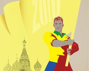 World Cup 2018 Brazil Neymar A3 Print