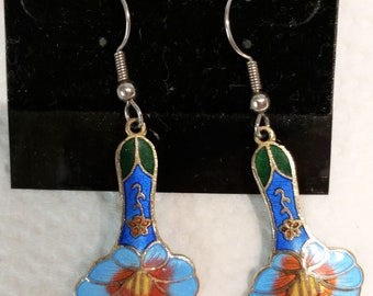 Vintage Cloisonne Pierced Earrings with enameled flowers, blue, green, yellow and orange.
