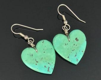 Carved Turquoise Heart Earrings Santo Domingo Pueblo Kewa Native American