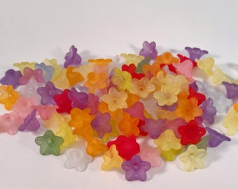 50 Campanula mix color 9 mm frosted frosted lucite flower beads