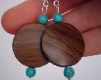 Earrings imitation turquoise wood