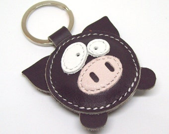 Geza The Cute Little Dark Gray Pig Handmade Leather Keychain - FREE Shipping Worldwide - Handmade Leather Pig Bag Charm