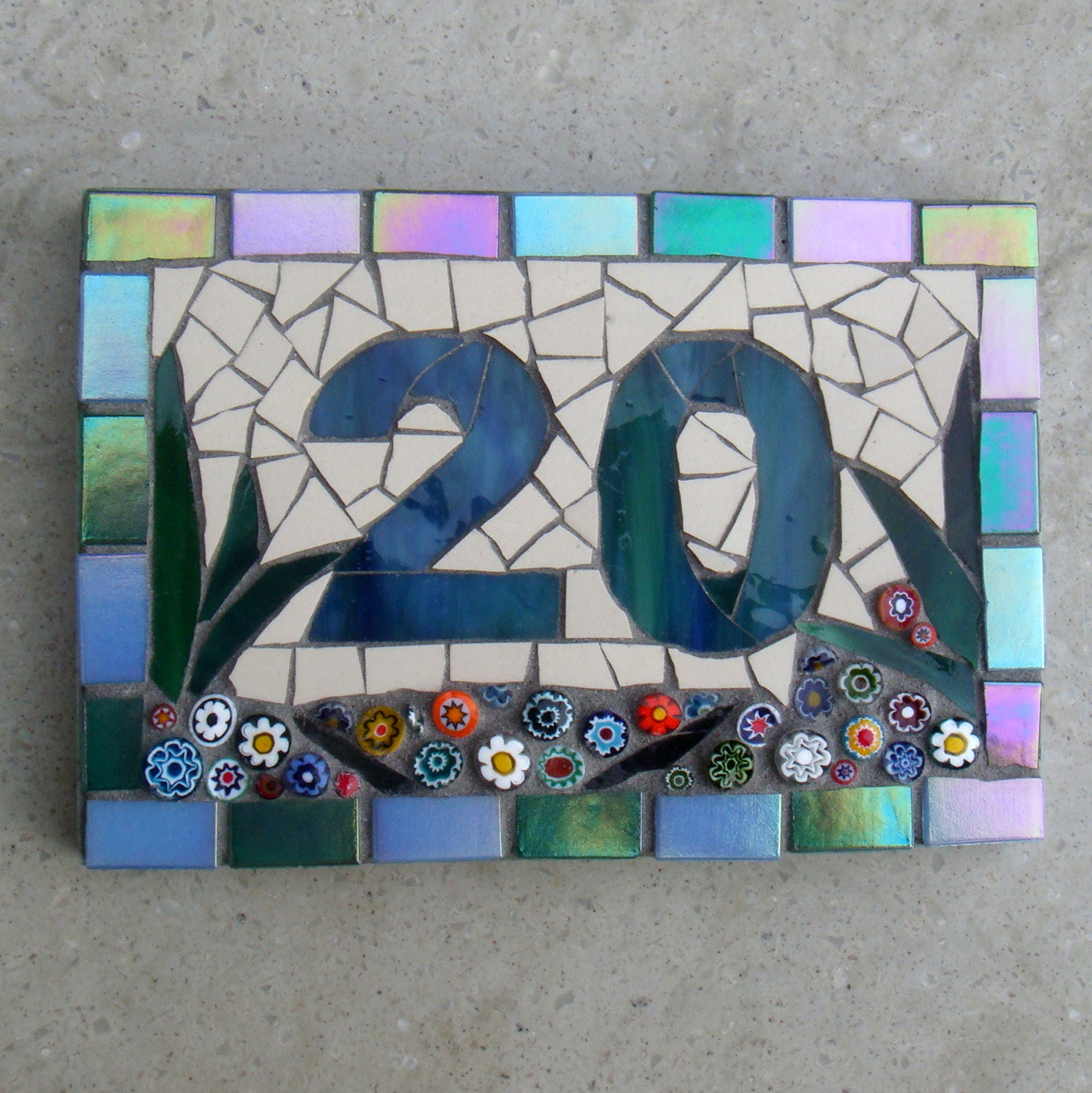 Mosaic house number house numbers ceramic outdoor sign zoom dailygadgetfo Gallery