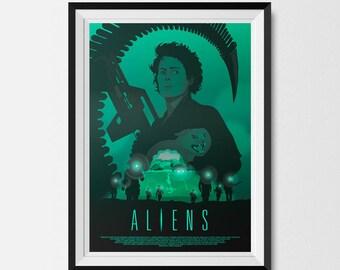 Aliens, Aliens Print, Science Fiction, SciFi Art, Ripley, Xenomorph, Alternative Movie Poster, Movie Poster, Ellen Ripley, Dark