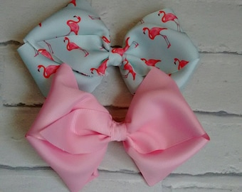 "Set of 2 Girls large 6"" Hair Bows Pink & Flamingo like JoJo Siwa Bows Signature Keeper Dance Moms School Party Gift Christmas Bling"
