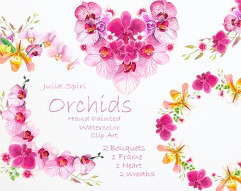 Watercolor Wreaths, Bouquets, Heart, Frames. Orchids Flower, Hand Painted Floral Clip Art, Watercolor Flowers, Invitation Wedding flowers