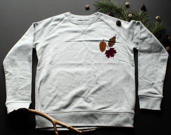 Autumn leaves Sweatshirt / / girl / / boy / / organic cotton / / organic ink / / gray /Illustration handmade/leaves/fall Sweatshirt /autumn