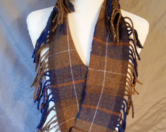 Pendleton Wool Circle Scarf  - Chocolate Brown and Blue Plaid