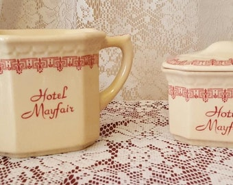 SYRACUSE China Creamer and Covered Sugar Advertising MAYFAIR HOTEL Sioux City Iowa Econo-Rim Pattern