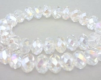 12mm crystal AB rondelles, faceted Chinese crystal, qty 12
