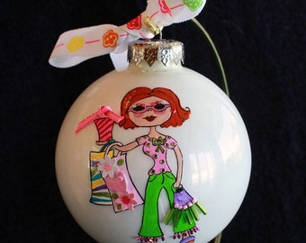 Hand Painted Ornament with a Girl Shopping  w/3d effect item 85