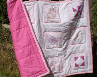 delicate pink & white 'little angels' single quilt, cotton top, poly batting, polycotton backing