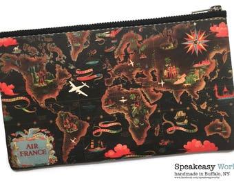 Vintage Map Air France—World Map Artwork, Worldmap, Travel Bag, Boarding Pass Bag, Passport Bag, Makeup Bag