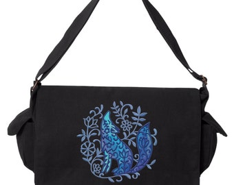 Bohemian Woods - Wolf Embroidered Canvas Cotton Messenger Bag