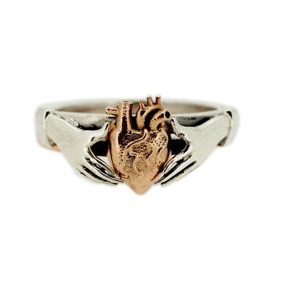 Anatomical Heart Stacking Claddagh Ring In Rose Gold And Sterling Silver by Etsy