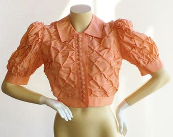 Vintage 1940's Tufted Peachy Pink Jacket Size Small