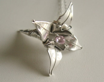 Silver Origami Lily, in Pink