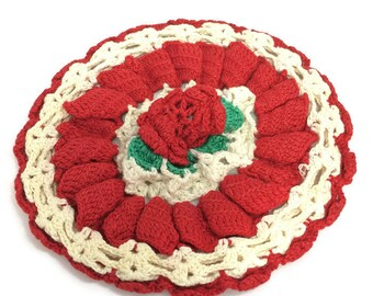 Vintage Doily Red Rose Crochet Christmas Holiday Scalloped Edge Handmade Retro Decor