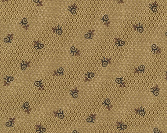 RJR Chocolate & Bubble Gum Brown Tonal Floral Civil War Fabric 2719-001 BTY