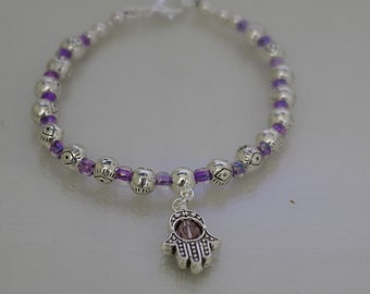Evil Eye / Hamsa Bracelet - Silver - Made to Order - All Sizes Several Colors