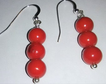 Red Coral Sterling Silver Gemstone Earrings 1.6 inches tall