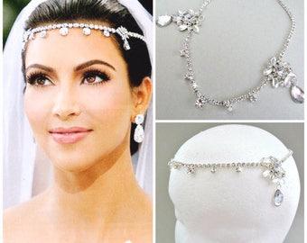 SALE Kim Kardashian inspired Crystal Bridal Headpiece,wedding Bridal headband,Bridal tiara,bridal Forehead Headband Hair Jewelry
