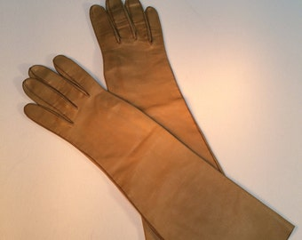 Leather Gloves, Yellow Ochre 3/4 Length Gloves, Women's Accessories, Vintage Formal Gloves, Weddings, Prom