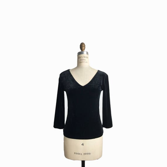 Vintage 90s Black Velour Top / V-Neck Velvet Top / 3/4 Sleeve Velvet Top - women's small