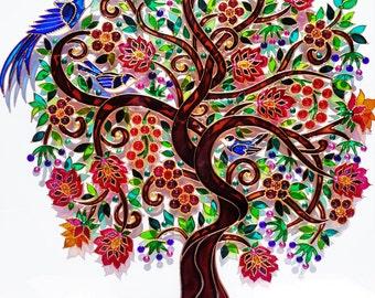 "Tree of life art 15""x15""Glass painting Glass art Wall decor Bohemian decor"