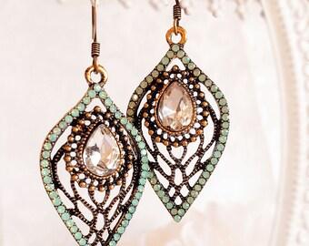 Art Nouveau Earrings - Green - Vintage Earrings - Handmade Jewelry - NOUVEAU CELADON