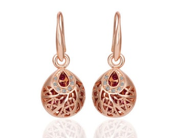 Stunning 18k Rose Gold Filled Solid Vintage Filigree Drop Earrings  With SWAROVSKI Crystal