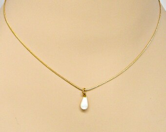 Necklace Pearl Teardrop Pendant on Gold Curb Chain Adjustable Mininmal Jewelry 16.5 to 19 Inches Bridal Prom
