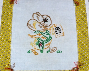 Western blanket, Baby, Cowboy, summer quilt, duck, vintage embroidery, wall hanging, nursery decor, earth tones